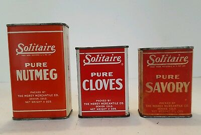 3 Vintage Spice Tins, Containers, SOLITAIRE Packed by The Morey Mercantile Co.