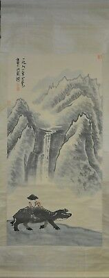 Vintage Chinese Watercolor BOY ON WATER BUFFALO Wall Hanging Scroll Painting