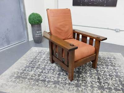 Mission Solid Oak Morris Chair Arts + Crafts With Original Cushions
