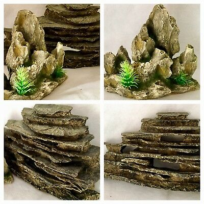 Two Good Sized Aquarian Resin Realistic Mountain Rock Ornaments For Fish Tank