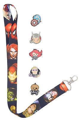 Marvel Avengers Themed Lanyard Starter Set w/ 5 Disney Trading Pins ~ Brand NEW