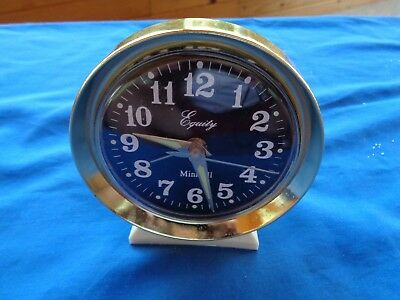 EQUITY MINIBELL, GLOW IN DARK WIND UP ALARM CLOCK, Tested, Working