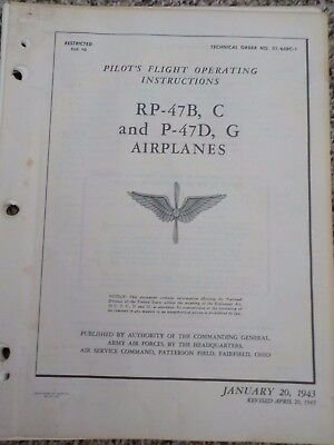 Technical Orders Pilot's Flight Operating Instructions P-47 Thunderbolt Airplane