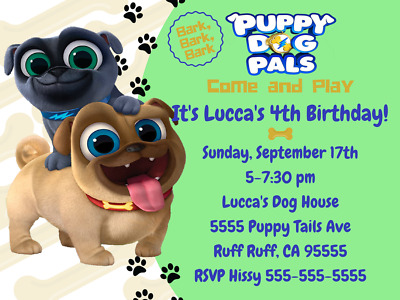 PUPPY DOG PALS Birthday Invitation Puppy Dog Pals Tails