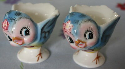 2 Vintage Lefton Bluebird of Happiness Egg Cups Perfect Condition W/Stickers