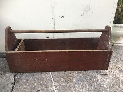 Vintage Retro Wooden Large Took Box With Handle Planter Box Garden