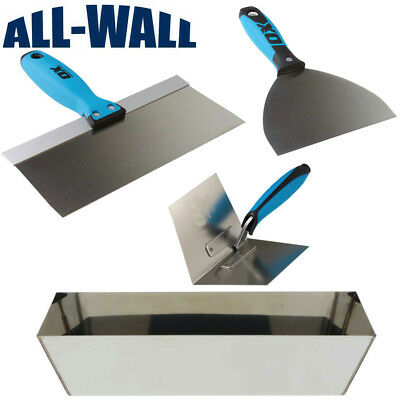 """OX Pro Drywall Finish Set w/ Stainless Pan, 6""""/12"""" Joint Knives, Corner Trowel"""