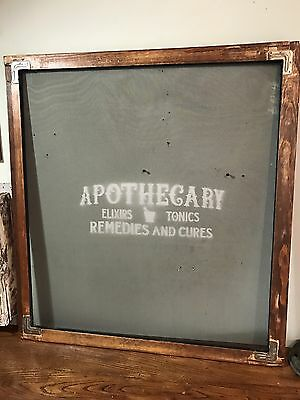 Antique Salvaged Wood Apothecary Screen Window
