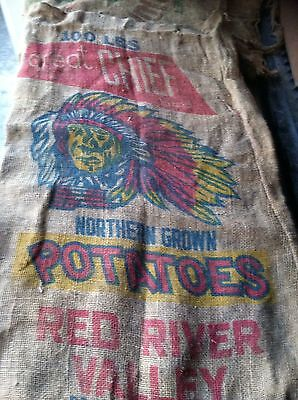 Vtg. Burlap Potato Sack-Great Chief-Red River Valley-100Lbs.