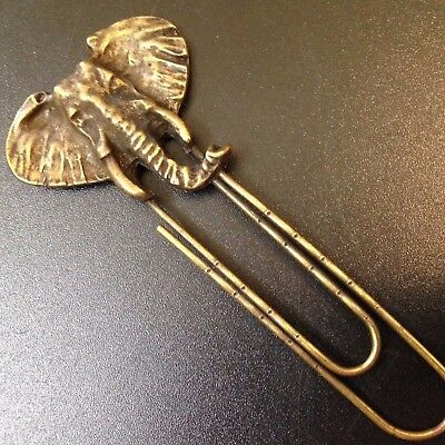 Brass Elephant Head - Paper Clip-Style BOOKMARK - Raised Relief - 9.5cm Long