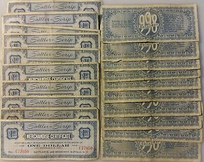 Lot of 20 New York Store Scrip Merchant $1 Notes