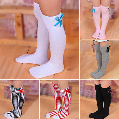 Cute Baby Girls Stripe Solid Color Bowknot Knee High Socks Leg Warmer Stockings