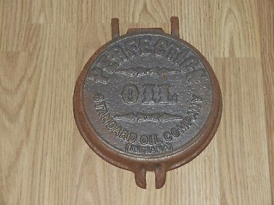 Vintage STANDARD OIL CO OF INDIANA PERFECTION OIL Cast Iron Lid Sign Embossed