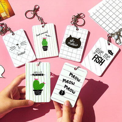 Cute ABS ID Credit Card Holder Case Badge Lanyard Wallet Key Ring Keychain