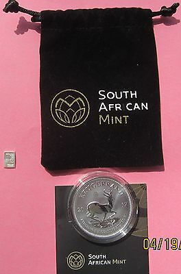 2017 So AFRICAN 50thANNIVERSARY 1 OZ .999 SILVER KRUGERRAND-FREE 1 GM Bar w/pur