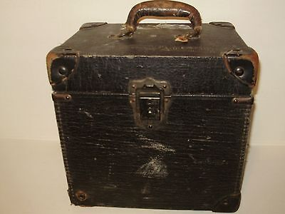 Antique Black Leather Military Medical Electronic Box Old Key Hole