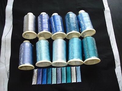 Marathon Rayon Embroidery machine thread: Caribbean  waters pack (1,000m x 10)