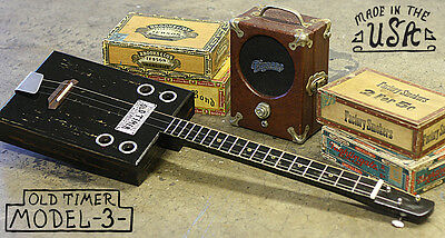 1857 Old Timer ~Cigar Box guitar~ Model -3- Bottleneck 3 string Blues Americana