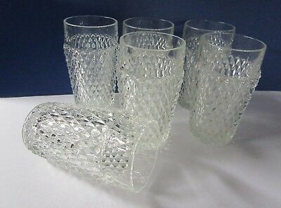 "6 Indiana Glass Diamond Point Clear Heavy Glass 5 3/4"" Flat Tumblers 15 OZ"