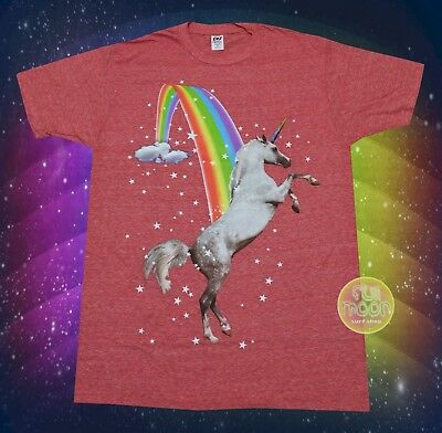 New Over the Rainbow Unicorn Classic Space Mens Heather T-Shirt