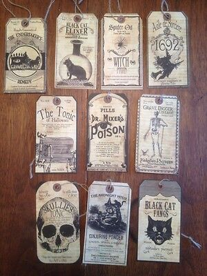 Bethany Lowe Halloween Cabinet Of Curiosities Paper Tag Ornaments--set Of 10