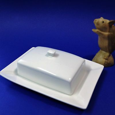 White Porcelain - Covered Butter / Cheese Dish -