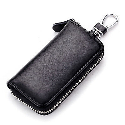 Mens Womens Genuine Leather Car Key Ring Card Holder Case Wallet Purse Bag Coin.