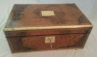 Antique writing slope burr walnut box brass regency secret drawers