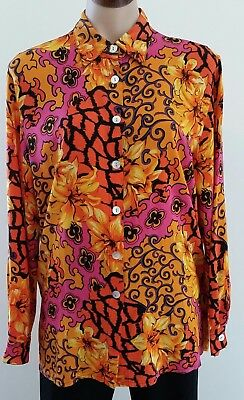 Vintage 1960s Perutz MULTI-COLOURED Psychedelic Flower Power SILK Shirt size 12