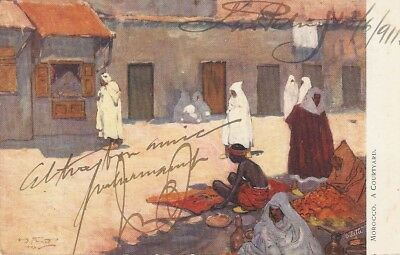 """""""A.S.Forrest. Morocco. A Courtyard"""" Tuck Oilette Wide-wide-world Series PC #7427"""