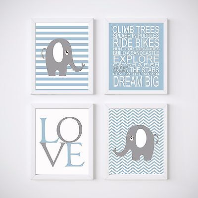 4 Print Set Elephant Nursery Room Prints, Kids wall decor, Boy's Bedroom
