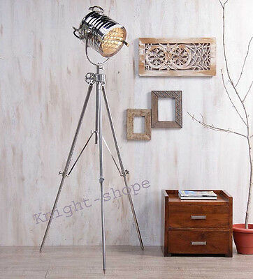 Royal Nickle Finish Floor Nautical Light Tripod Stand Searchlight