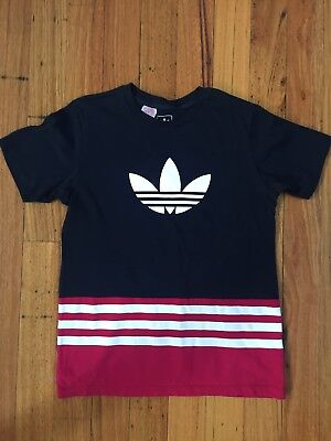 As New Adidas Kids Navy Blue Maroon T-Shirt Size 13-14 Yrs