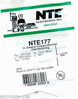 NTE177 - Fast Diode 50nS 1A 200V DO-35 *** AUS Seller ***  FREE POST