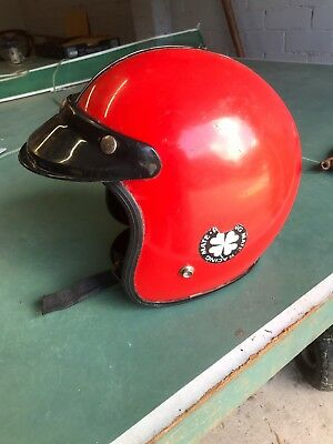 Open Face Red Motorcycle Helmet Race Mate With Visor
