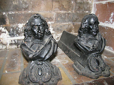 OLD French Architectural Andirons Firedogs Fireplace Log Holders Country Decor