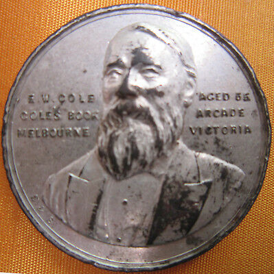 E. W. Cole Aged 55 Coles Book Arcade Melbourne 39 mm Silver plated medal