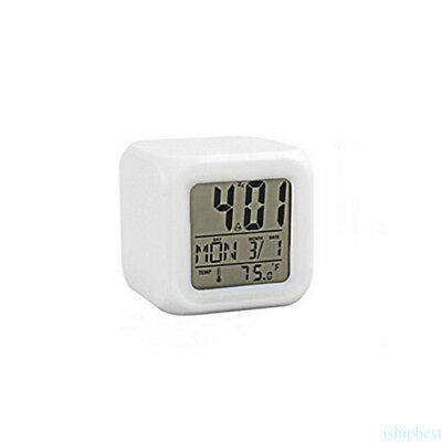 Stress Relieve Cube 7 Color LED Change Digital Glowing Morning Alarm Clock