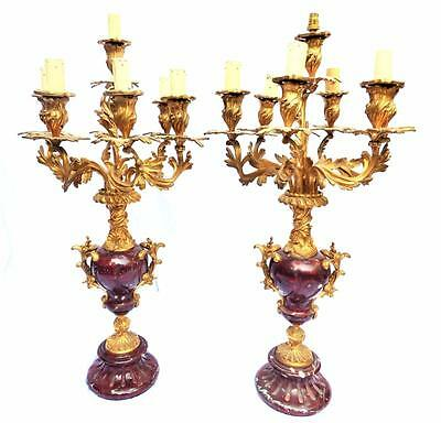 PAIR LARGE ANTIQUE SOLID BRONZE & RED MARBLE 7 BRANCH CANDELABRA 77.5cm 30 1/2""