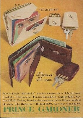 Prince Gardner Purse Lighter Key Guard Billfold Vintage Ad 1959