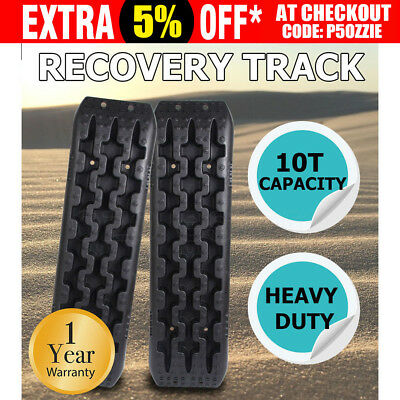 NEW Pair Recovery Tracks 10T 4x4 Off Road 4WD Vehicle Car Sand/Snow/Mud Black