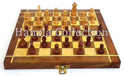 "Portable Set 10"" Foldable Handmade Travel Wooden Chess Board With Pieces Storage"