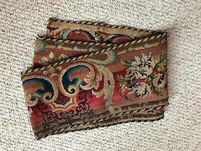 Rare Stunning Victorian Antique Needlepoint Tapestry Floral Border Valance
