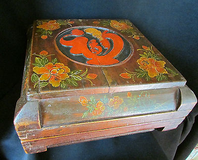 Antique Chinese Wooden Box with Figure and Painted Decoration