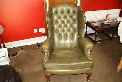 chesterfield Queen Anne wing back chair in Antique green