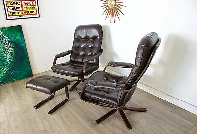 DELUK£70 Retro Mid Century Pair Brown Leather Rosewood Swivel Arm Easy Chairs