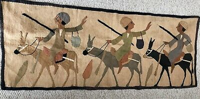 ANTIQUE VINTAGE EGYPTIAN 1930s TEXTILE COLLAGE APPLIQUE HAND STITCH WALL HANGING