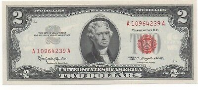 $2 Dollar 1963 RED SEAL OLD USA Legal Tender Note United States AU