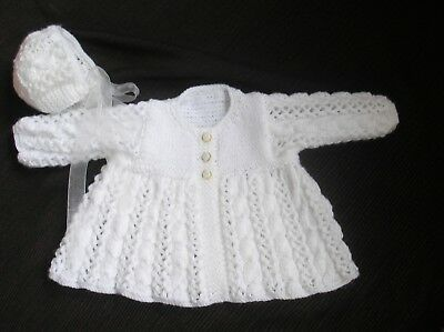 Hand Knitted Baby Clothes, Lace Matinee Coat and Matching Bonnet.