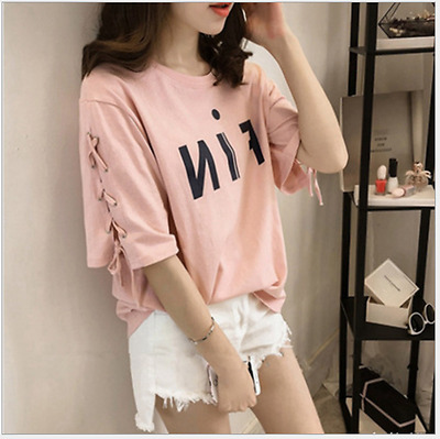 Plus Size Women's Cotton Blend Short Sleeve Bandage Loose T-shirt Top Blouse